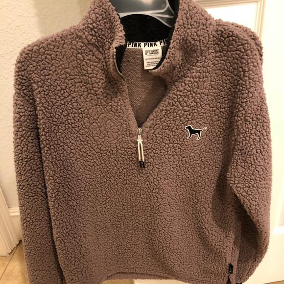 Pink Victorias Secret Jackets Coats Pink Vs Fuzzy Quarter Zip